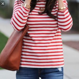 J Crew Red and White Stripe 3/4 sleeve top size S